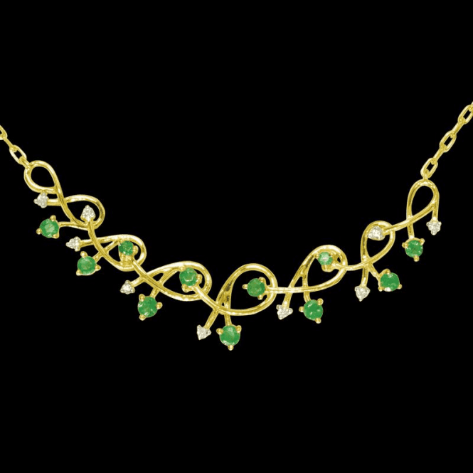 Shipton and Co Ladies Shipton and Co Exclusive 9ct Yellow Gold Diamond and Emerald Graduated Shrimp Necklace NYD008EMD