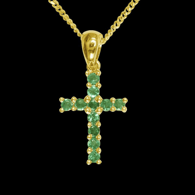 """Shipton and Co Ladies Shipton and Co Exclusive 9ct Yellow Gold 11 Stone Emerald Cross Pendant including a 16"""" 9ct Chain  PYD029EM"""