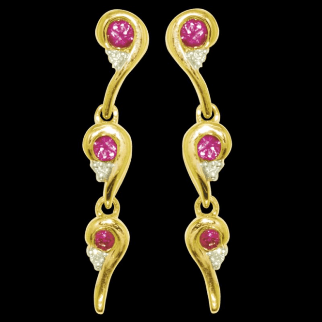 Shipton and Co Ladies Shipton and Co Exclusive 9ct Yellow Gold Diamond and Ruby Enigma Earrings EYD005RUD