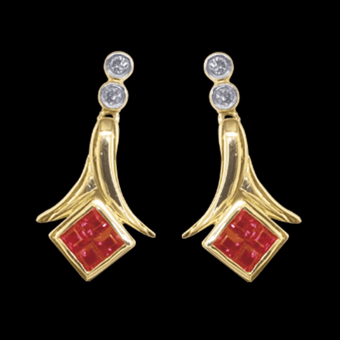 Shipton and Co Ladies Shipton and Co Exclusive 9ct Yellow Gold Diamond and Square Ruby Drop Earrings TPL319RUD