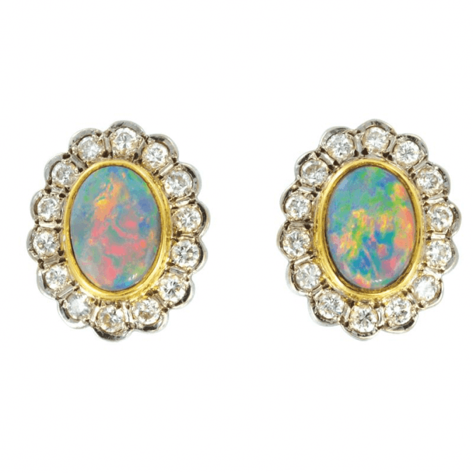 Spectacular Black Opal & Pave set Diamond Earrings