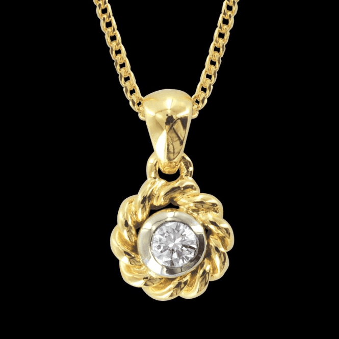 Ladies Shipton and Co Exclusive 18ct Yellow and White Gold Diamond Rope Edge Pendant including a 16 18ct Yellow Gold Franco Chain S07406DI