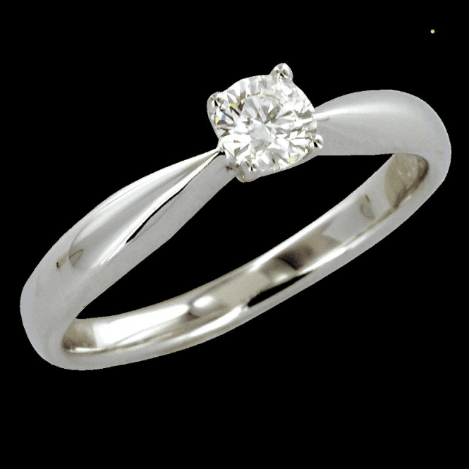 Shipton and Co Ladies Shipton and Co Exclusive 18ct White Gold Quarter Carat 4 claw Diamond G/S12 Ring S08587DI