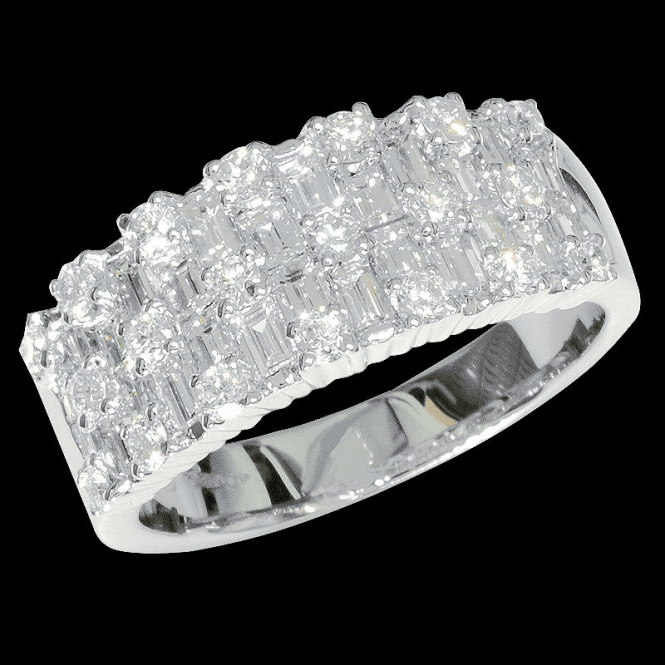 Shipton and Co Ladies Shipton and Co 18ct White Gold 2ct Round and Bagette Weave Diamond Ring TFL505DI