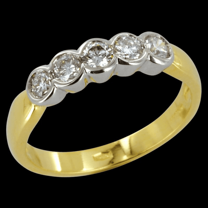 Shipton and Co Ladies Shipton and Co Exclusive 18ct Yellow Gold Half Carat Flush Set 5 Stone Diamond Half Eternity Ring S07791DI