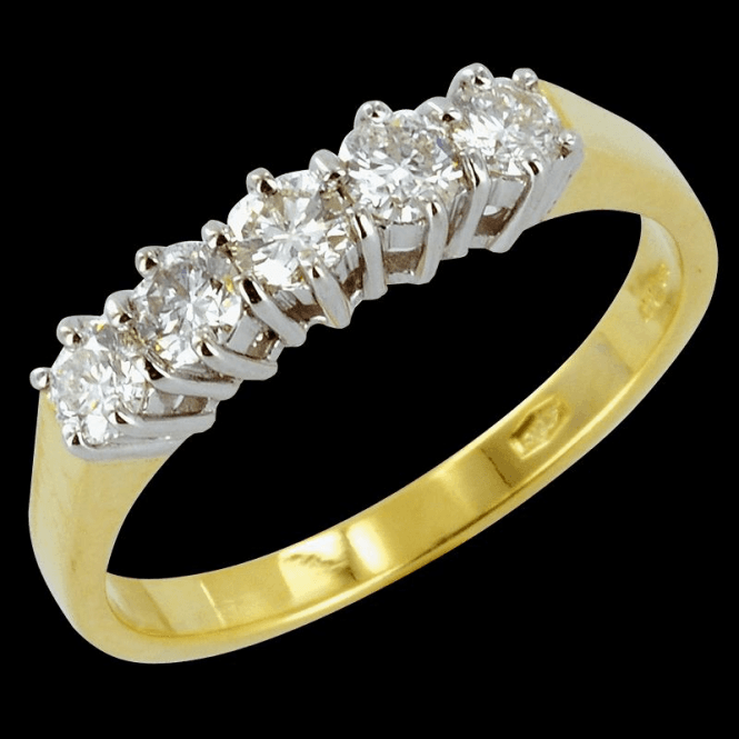 Shipton and Co Ladies Shipton and Co Exclusive 18ct Yellow Gold  Half Carat Claw Set 5 Stone Diamond Half Eternity Ring S07851DI