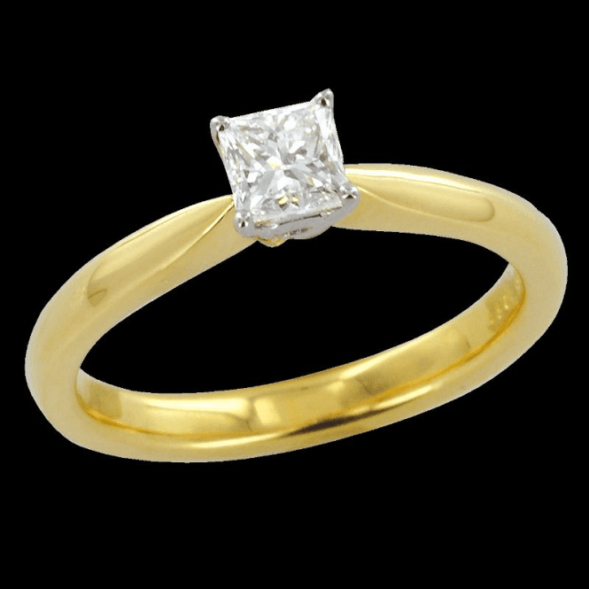 Shipton and Co Ladies Shipton and Co Exclusive 18ct Yellow Gold Half Carat H/Si2 Princess Cut Diamond Solitaire Ring S08580DI