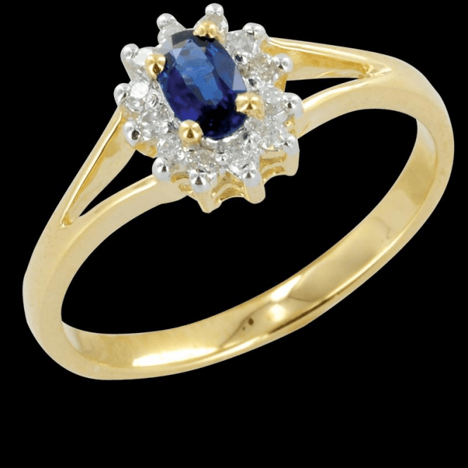 Ladies Shipton and Co Exclusive 9ct Yellow Gold Classic Split Shoulder Blue Sapphire and Diamond Ring RYD061BSD
