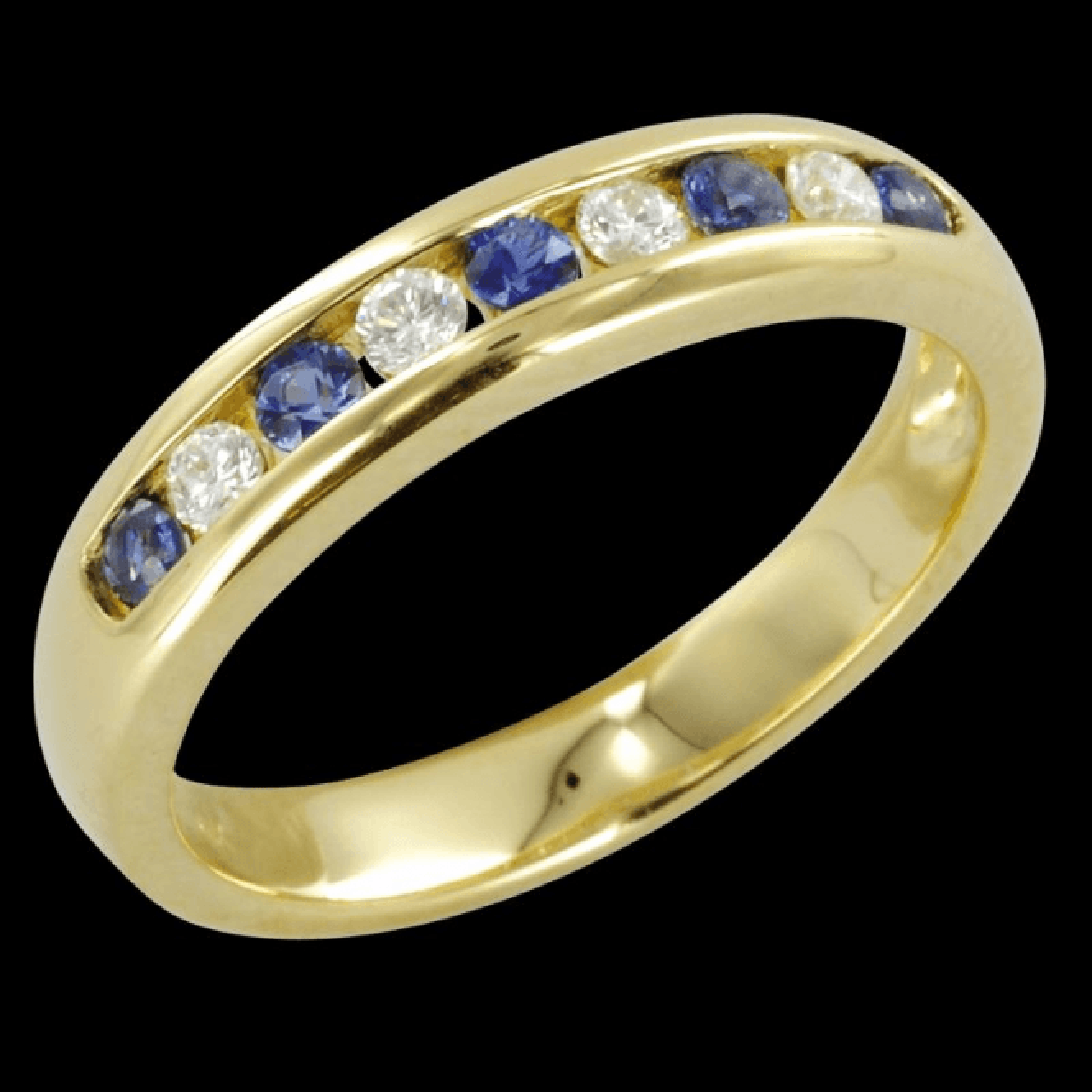 The Hamptons Half Eternity Ring in Sapphire & Diamond