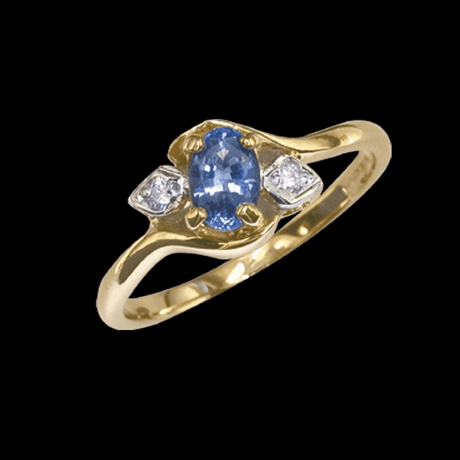 Shipton and Co Ladies Shipton and Co Exclusive 9ct Yellow Gold Diamond Collets on Shoulders Ceylon Sapphire Ring RYX087CS