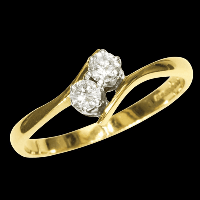 Shipton and Co Ladies Shipton and Co Exclusive 9ct Yellow Gold Two Diamond tyaped twist shoulder Ring RYX066DI