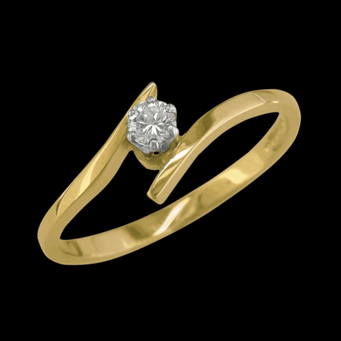 Shipton and Co Ladies Shipton and Co Exclusive 9ct Yellow Gold 12pt Curve Traped Shank Solitaire Diamond Ring RYX076DI