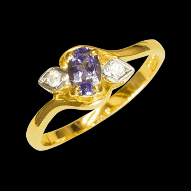 Shipton and Co Ladies Shipton and Co Exclusive 9ct Yellow Gold Diamond and Tanzanite  Ring RYX087TZ