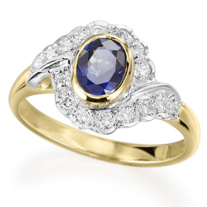 Ladies Shipton and Co Exclusive 18ct Yellow Gold Diamond and Blue Sapphire Ring S08157BSD