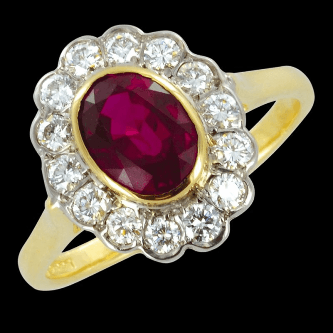 Shipton and Co Ladies Shipton and Co Exclusive 18ct Yellow Gold Diamond and Ruby Cluster Ring S07293RUD