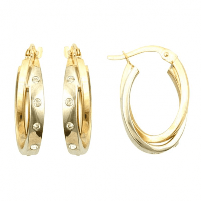 Studded Hoops with a Diamond-Like Sparkle