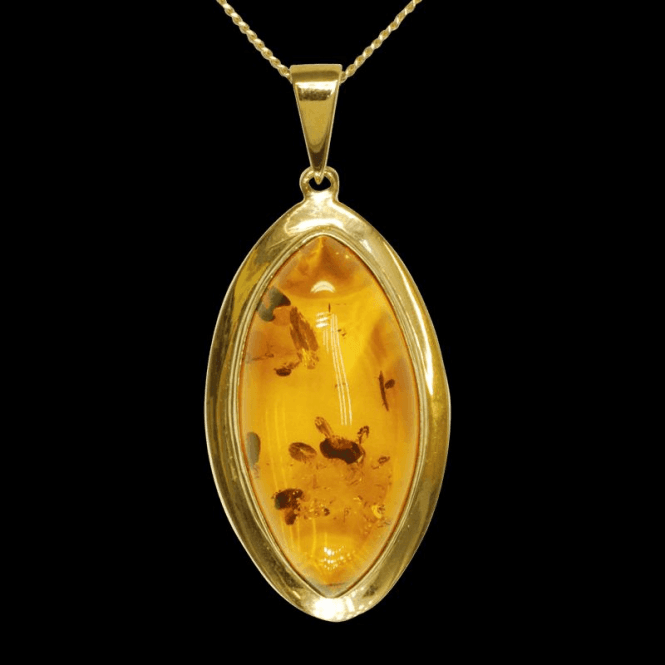 Ladies Shipton and Co 9ct Yellow Gold and Amber Pendant including a 20 9ct Yellow Gold Chain PY1890AB