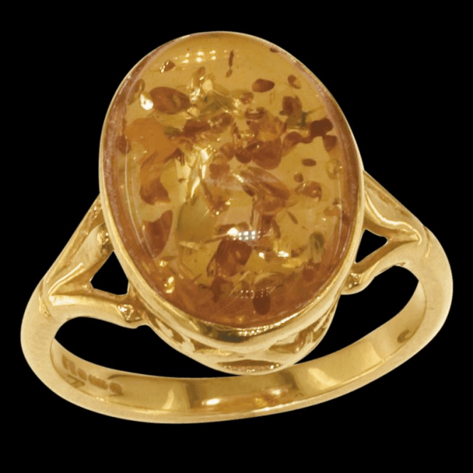 Ladies Shipton and Co Exclusive 9ct Yellow Gold and Amber Ring RY1614AB