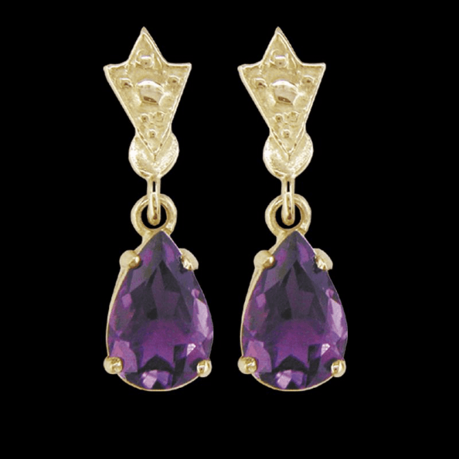 Ladies Shipton and Co Exclusive 9ct Yellow Gold and Amethyst Earrings EY0981AM