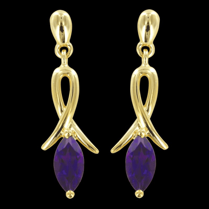 Ladies Shipton and Co Exclusive 9ct Yellow Gold and Amethyst Earrings EYG013AM