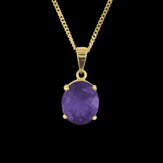 Ladies Shipton and Co 9ct Yellow Gold and Amethyst Pendant including a 20 9ct Yellow Gold Chain PY1085AM