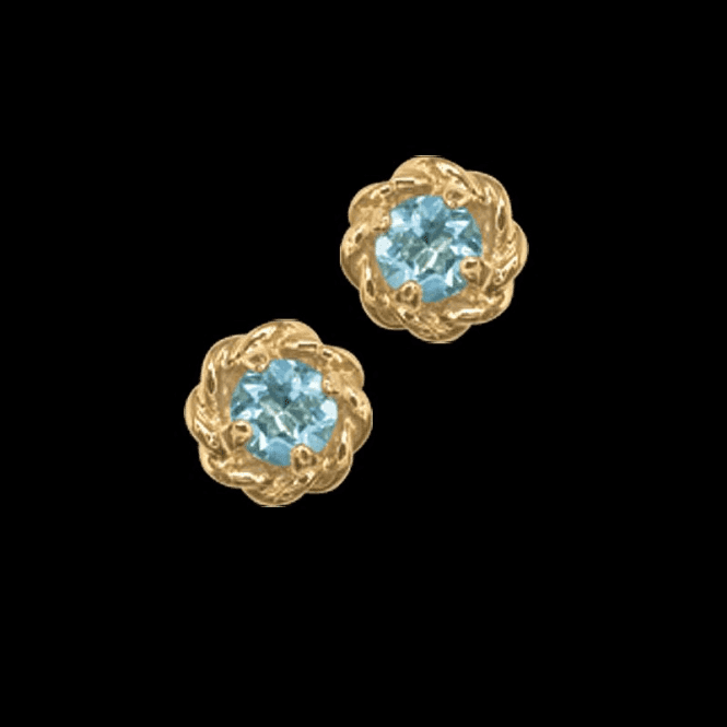 Ladies Shipton and Co Exclusive 9ct Yellow Gold and Aquamarine Earrings EY1239AQ