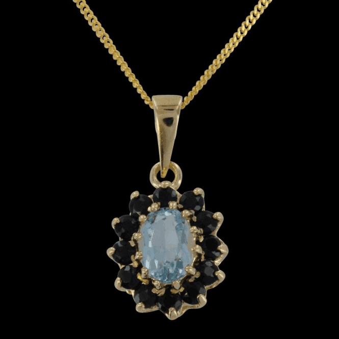 Ladies Shipton and Co Exclusive 9ct Yellow Gold and Aquamarine Pendant including a 20 9ct Yellow Gold Chain PY1270AQS