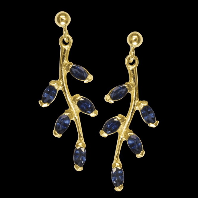 Ladies Shipton and Co Exclusive 9ct Yellow Gold and Blue Sapphire Earrings EY2229BS