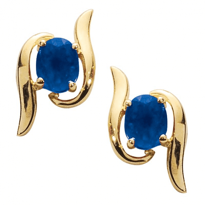 Ladies Shipton and Co Exclusive 9ct Yellow Gold and Blue Sapphire Earrings EYG031BS