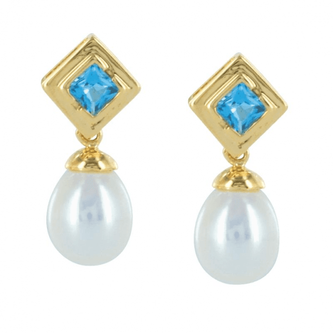Ladies Shipton and Co Exclusive 9ct Yellow Gold and Blue Topaz Earrings TMX132BTP