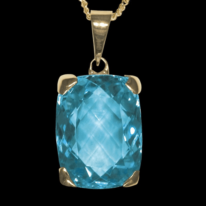Ladies Shipton and Co 9ct Yellow Gold and Blue Topaz Pendant including a 16 9ct Chain PY2200BT