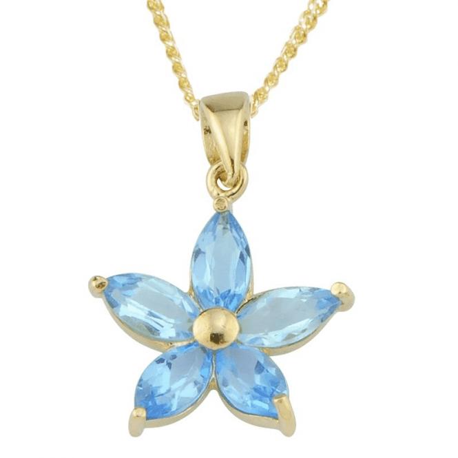Marquise Cut Blue Topaz Flower Pendant