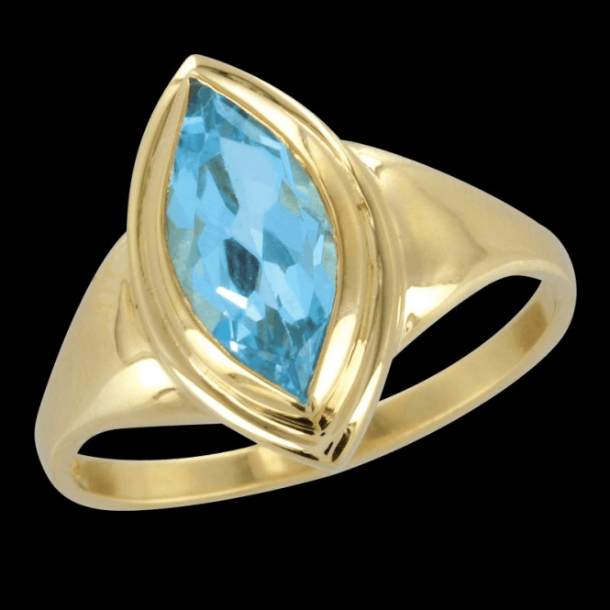 Ring 9ct 1880 Marq. Blue Topaz