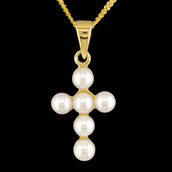 Shipton and Co Ladies Shipton and Co 9ct Yellow Gold and Cultured Pearls Pendant including a 16 9ct Chain PY1764CP