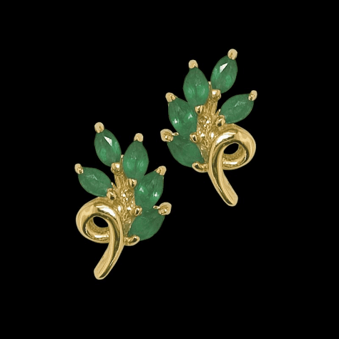 Shipton and Co Ladies Shipton and Co Exclusive 9ct Yellow Gold and Emerald  Earrings TPL172EM