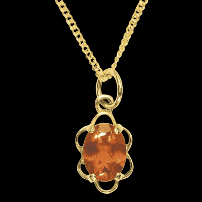 Ladies Shipton and Co Exclusive 9ct Yellow Gold and Fire Opal Pendant including a 16 9ct Chain PY0972FO