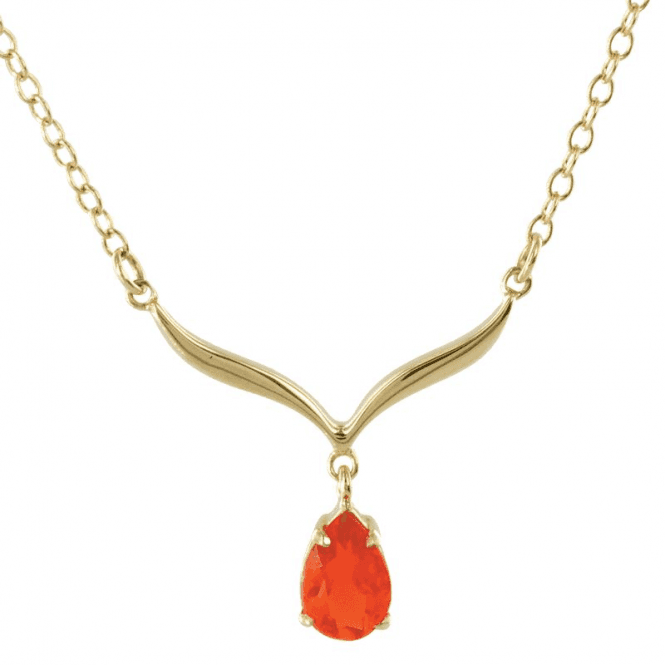 Shipton and Co Ladies Shipton and Co Exclusive 9ct Yellow Gold and Fire Opal  Necklace NY2220FO