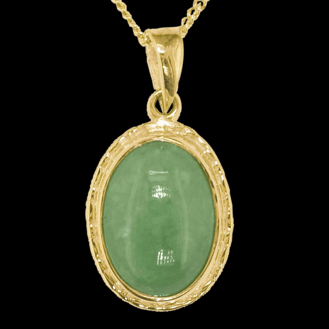 "Shipton and Co Ladies Shipton and Co Exclusive 9ct Yellow Gold and Green Jade & Jadeite  Pendant including a 16"" 9ct Chain  PY1074GJ"