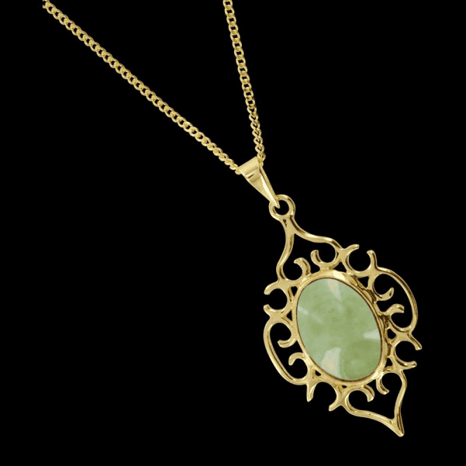 Filigree Nightingale Pendant in Green Jade