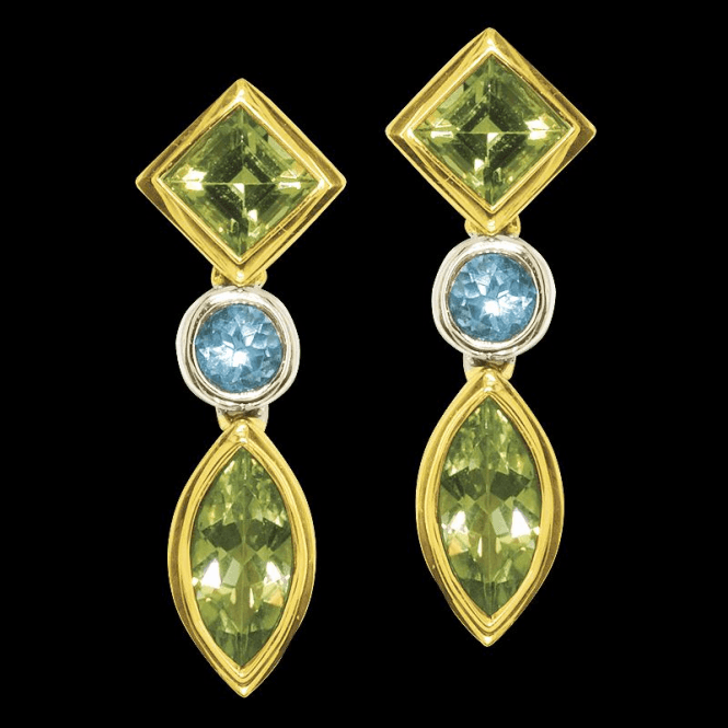 Ladies Shipton and Co Exclusive 9ct Yellow Gold and Multiple Stone Peridot Earrings EYG007MU3