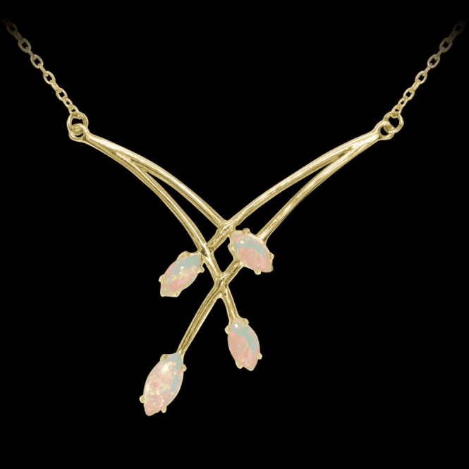 Graceful Necklet of Marquise Opals
