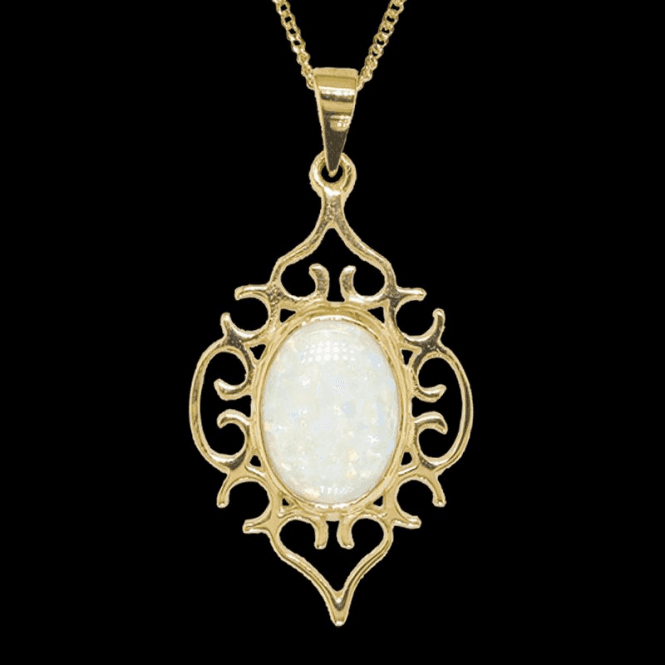 Filigree Nightingale Pendant in Snowy Opal