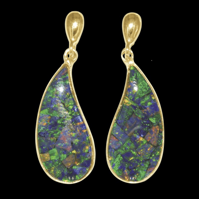 Shipton and Co Ladies Shipton and Co Exclusive 9ct Yellow Gold and Opal Mosaic Triplet Earrings EY2256OT
