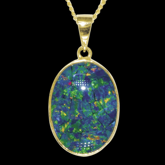 "Shipton and Co Ladies Shipton and Co  9ct Yellow Gold and Opal Mosaic Triplet Pendant including a 16"" 9ct Chain  PY2189OT"