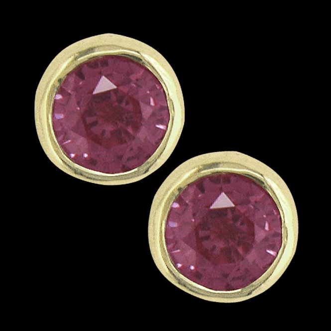 Ladies Shipton and Co 9ct Yellow Gold and Pink Sapphire Earrings EY0074PS
