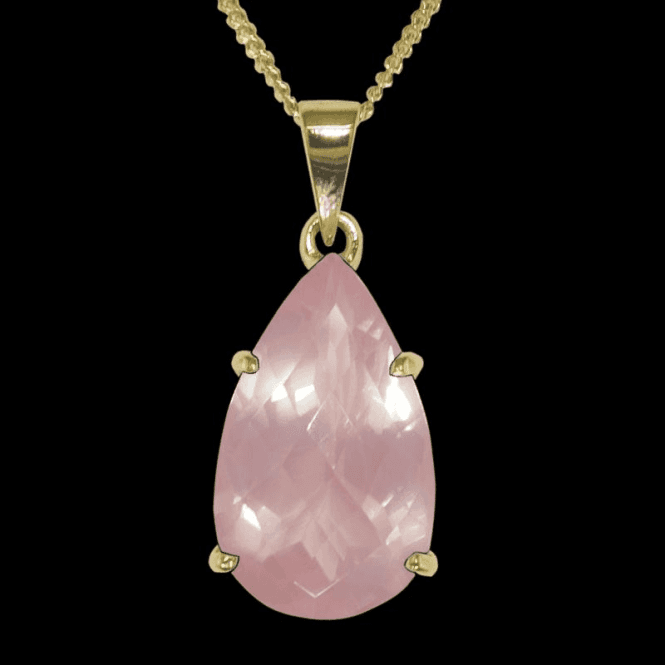Ladies Shipton and Co 9ct Yellow Gold and Rose Quartz Pendant including a 16 9ct Chain PY1474RQ1