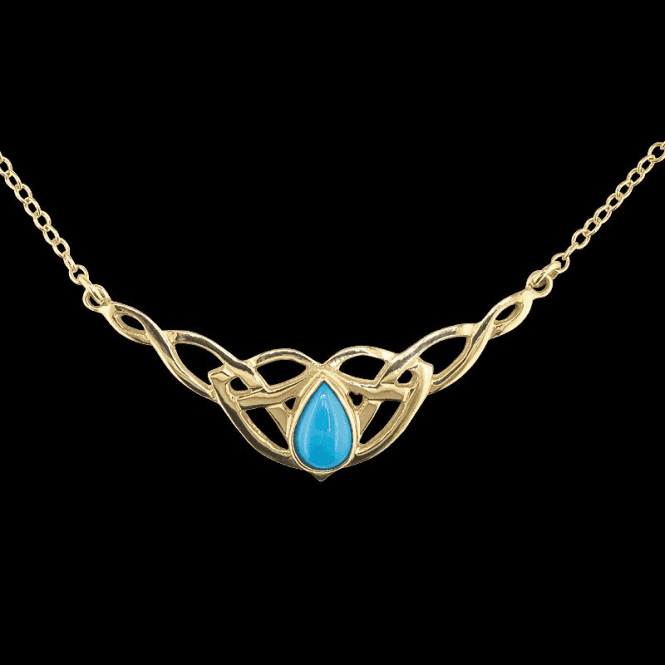 Shipton and Co Ladies Shipton and Co Exclusive 9ct Yellow Gold and Turquoise Necklace NY1877TQ