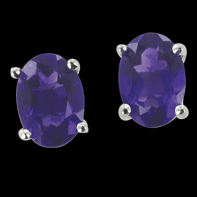 Ladies Shipton and Co Silver and 7x5mm Oval Amethyst Claw Set Earrings EQA068AM
