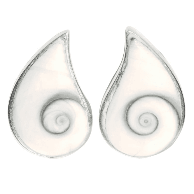 Shipton and Co Clip Shiwa Shell Earrings in Sterling Silver
