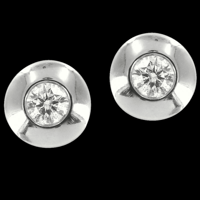 Shipton and Co Ladies Shipton and Co  9ct White Gold Halo Diamond Stud Earrings TGE002DI